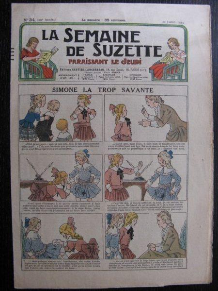 La Semaine de Suzette 29e année n°34 (1933) Simone la trop savante - Les méfaits de Titoute