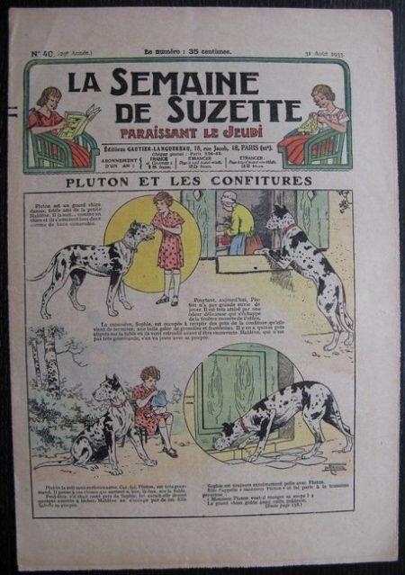 La Semaine de Suzette 29e année n°40 (1933) Pluton et les confitures (Le Rallic) Nane chez Yasmina - Bleuette