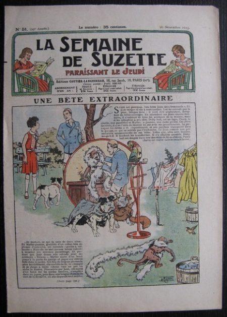 La Semaine de Suzette 29e année n°51 (1933) Une bête extraordinaire (Le Rallic) - Nane chez Yasmina - Bleuette