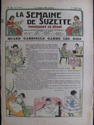 La Semaine de Suzette 33e année n°31 (1/07/1937) - Quand Gabrielle garde les oies (Bleuette)