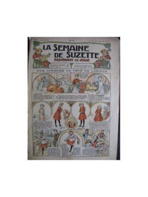 La semaine de Suzette 13e année n°41 (1917) Une journée de tête de linotte (Bleuette – Tablier d'écolière)