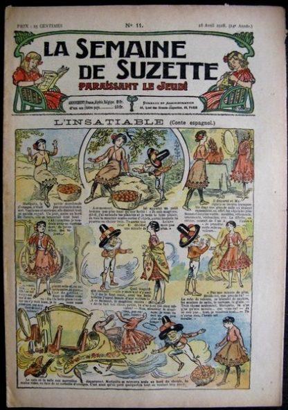 La semaine de Suzette 14e année n°11 (1918) L'insatiable (conte espagnol) Bleuette Bambina