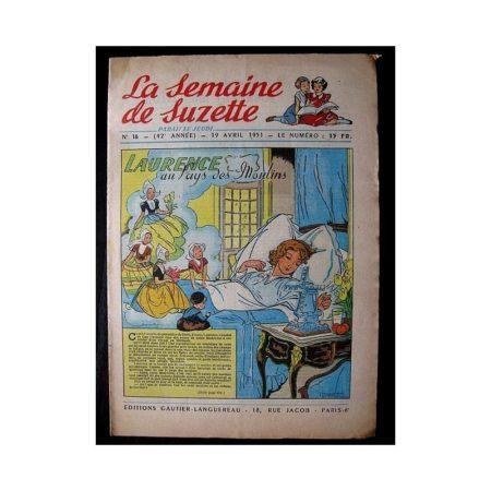 LA SEMAINE DE SUZETTE 42e ANNEE (1951) n°16 Laurence au pays des moulins (Bleuette)