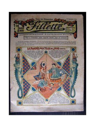 FILLETTE 1915 N°393 LA POUPEE AUX YEUX DE JADE (Poupée Friquette - Robe Francesca)
