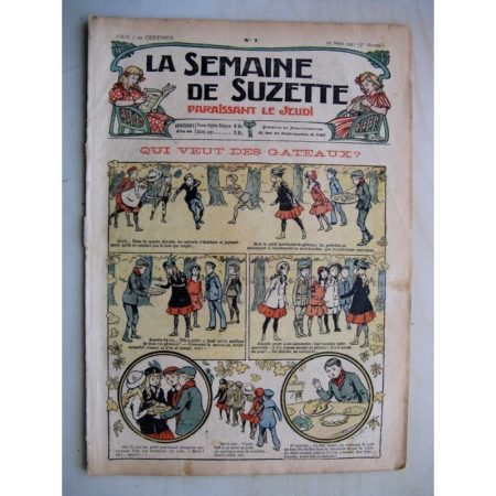 La Semaine de Suzette 7e année n°7 (1911) Qui veux des gâteaux? (Bleuette - Guimpe brodée)