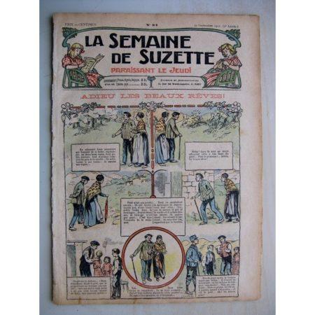 La Semaine de Suzette 7e année n°34 (1911) Adieux les beaux rêves (Bleuette - Robe habillée)