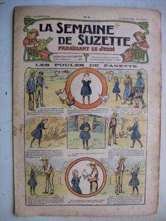 La Semaine de Suzette 9e année n°3 (1913) Les poules de Fanette (Bleuette - Bouquetière Louis XV)