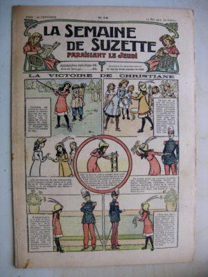La Semaine de Suzette 9e année n°15 (1913) La victoire de Christiane – Bleuette (tablier à bavette) L'enfance de Bécassine (15)