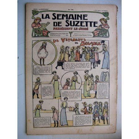 La Semaine de Suzette 9e année n°18 (1913) Les vêtements de Solange - Bleuette (serviette de table)