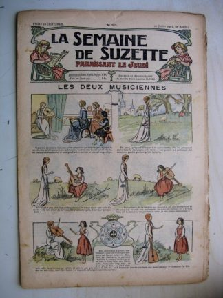 La Semaine de Suzette 9e année n°23 (1913) Les deux musiciennes (Guydo) Bleuette (costume de pêcheuse en jersey)