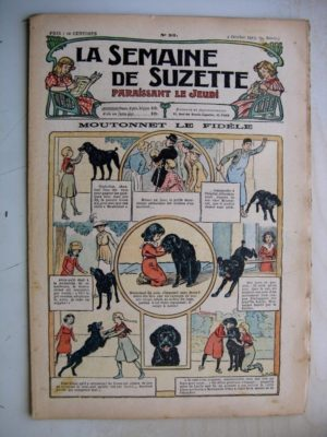 La Semaine de Suzette 9e année n°35 (1913) Moutonnet le chien fidèle - Bleuette (serviette tablier)