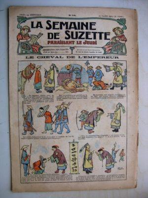 La Semaine de Suzette 9e année n°38 (1913) Le cheval de l'empereur chinois (Léonce Burret) Bleuette (pantoufles d'hiver)