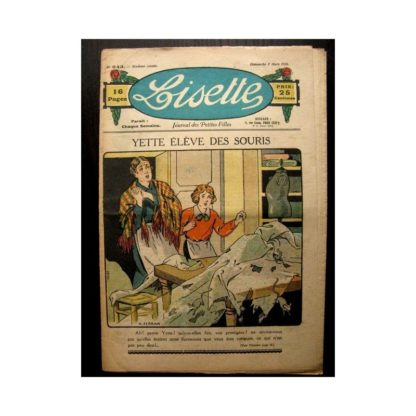 LISETTE n°243 (7 MARS 1926) YVETTE ELEVE DES SOURIS (poupée Lisette)