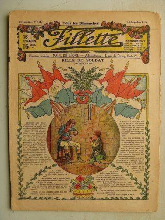 FILLETTE (SPE) N°562 (15 décembre 1918) Fille de soldat (suite) Paul Darcy - André Galland - La pagode de papier (Léon Roze)