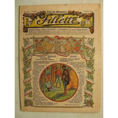 FILLETTE (SPE) N°570 (9 février 1919) Fille de soldat (André Galland - Paul Darcy) L'oeuf merveilleux (Paul Augros) Harry Gonel