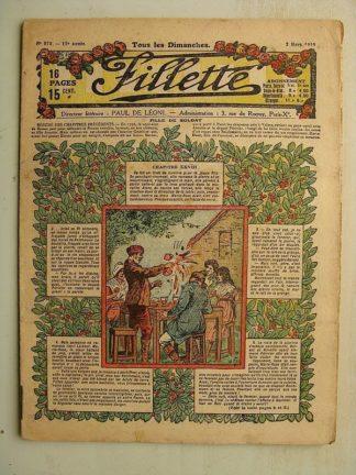 FILLETTE (SPE) N°573 (2 mars 1919) Fille de soldat (André Galland - Paul Darcy) Le Gateau de Christmas (B. Hatt) Leon Roze