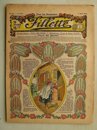 FILLETTE (SPE) N°574 (9 mars 1919) Fille de soldat (André Galland - Paul Darcy) Une superbe cure (B. Hatt) Harry Gonel