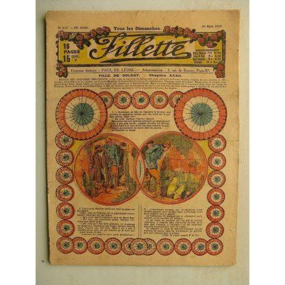 FILLETTE (SPE) N°577 (30 mars 1919) Fille de soldat (André Galland - Paul Darcy) Le petit bouquet de jasmin (Léon Roze)