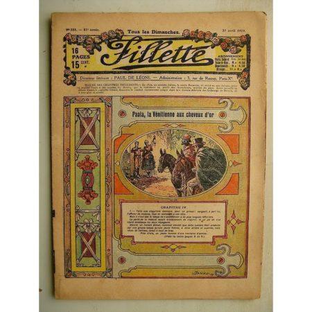 FILLETTE (SPE) N°581 (27 avril 1919) Paola la Vénitienne aux cheveux d'or (Janko - P. Salmon) Poissons de Fritz (Harry Gonel)