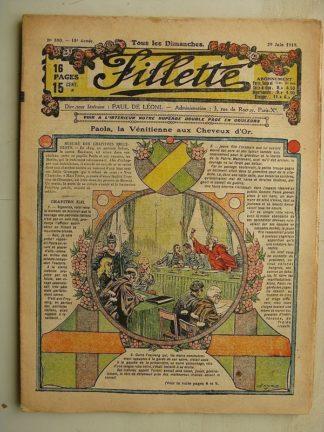 FILLETTE (SPE) N°590 (29 juin 1919) Paola la Vénitienne aux cheveux d'or (Janko) Nonchalante et brillante (A. Buguet)