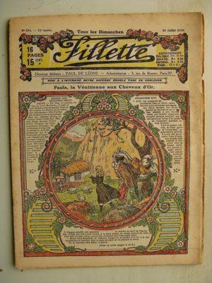 FILLETTE (SPE) N°593 (20 juillet 1919) Paola la Vénitienne aux cheveux d'or (Janko) Polichinelle en villegiature (Saynète)