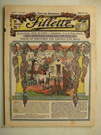 FILLETTE (SPE) N°594 (27 juillet 1919) Paola la Vénitienne aux cheveux d'or (Janko) La joie fait peur (Saynète)