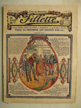 FILLETTE (SPE) N°595 (3 août 1919) Paola la Vénitienne aux cheveux d'or (Janko) Le jardinier pratique (Louis Forton)
