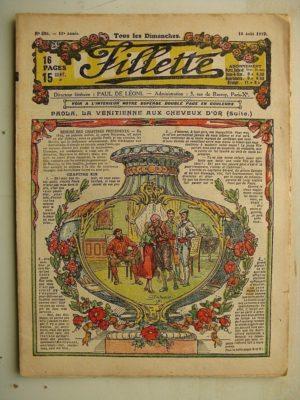 FILLETTE (SPE) N°596 (10 août 1919) Paola la Vénitienne aux cheveux d'or (Janko) Le parrain du poilu (nouvelle)