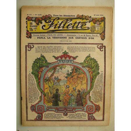 FILLETTE (SPE) N°597 (17 août 1919) Paola la Vénitienne aux cheveux d'or (Janko) La petite artiste (M. Mercey)