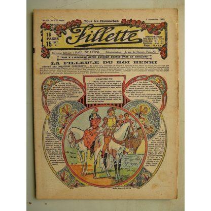 FILLETTE (SPE) N°608 (2 novembre 1919) La filleule du roi Henri (Rolno - Paul Daroy) Notre cousin a le choléra (Jean Thommery)
