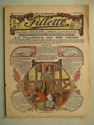 FILLETTE (SPE) N°609 (9 novembre 1919) La filleule du roi Henri (Rolno - Paul Daroy) Le sabre et l'éventail (Japon)