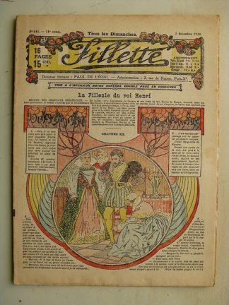 FILLETTE (SPE) N°613 (7 décembre 1919) La filleule du roi Henri (Rolno - Paul Daroy) Erreur d'optique (Nicolson) Louis Forton