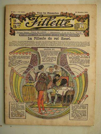 FILLETTE (SPE) N°615 (21 décembre 1919) La filleule du roi Henri (Rolno - Paul Daroy) Un bon moyen (Nicolson)