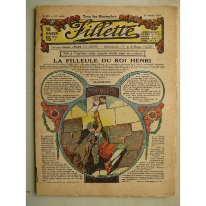 FILLETTE (SPE) N°618 (11 janvier 1920) La filleule du roi Henri (Rolno - Paul Daroy) Turc est gourmand (E. Nicolson)