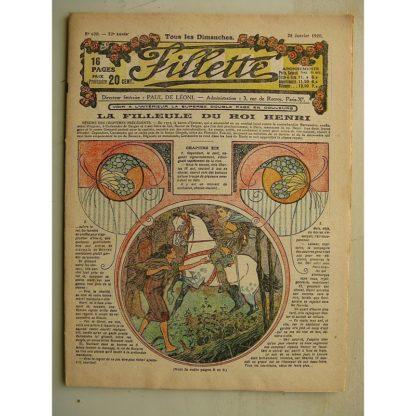FILLETTE (SPE) N°620 (25 janvier 1920) La filleule du roi Henri (Rolno - Paul Darcy) Camouflage (Louis Forton)