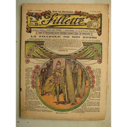 FILLETTE (SPE) N°621 (1er février 1920) La filleule du roi Henri (Rolno - Paul Darcy) Illusion éphémère (Louis Forton)
