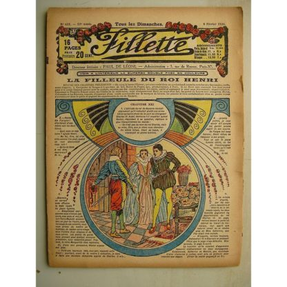 FILLETTE (SPE) N°622 (8 février 1920) La filleule du roi Henri (Rolno - Paul Darcy) Un bon moyen (Louis Forton)