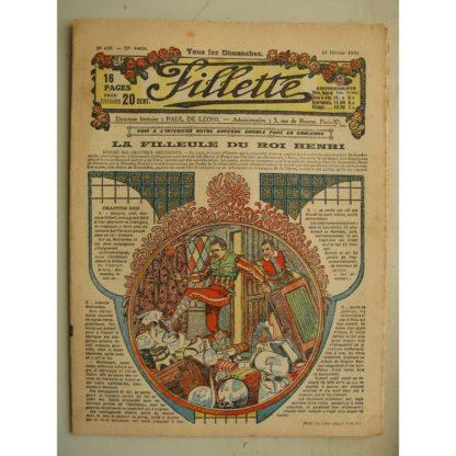 FILLETTE (SPE) N°623 (15 février 1920) La filleule du roi Henri (Rolno - Paul Darcy) Trop de zèle (Harry Gonel) Le vieux comédie