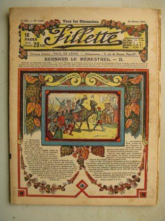 FILLETTE (SPE) N°625 (29 février 1920) Bernard le ménestrel (Janko) Le cardeur redient jeune (Thomen)