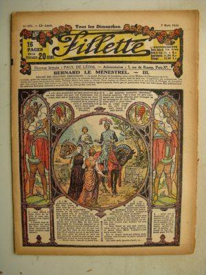 FILLETTE (SPE) N°626 (7 mars 1920) Bernard le ménestrel (Janko) Poursuite mouvementée (Louis Forton)