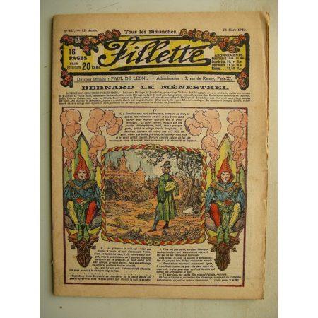 FILLETTE (SPE) N°627 (14 mars 1920) Bernard le ménestrel (Janko) La meilleure des fées - La chenille et le basset (Louis Forton)