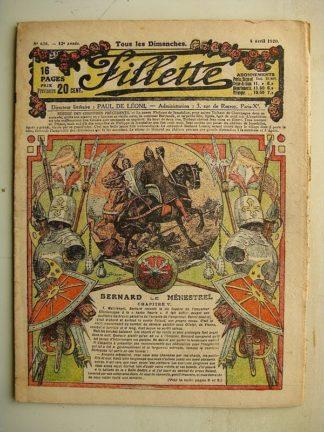 FILLETTE (SPE) N°628 (4 avril 1920) Bernard le ménestrel (Janko) Un joli talent d'amateur (Marcel Arnac)