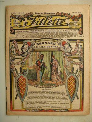 FILLETTE (SPE) N°629 (11 avril 1920) Bernard le ménestrel (Janko) Paulo joue au brigand calabrais (Harry Gonel)