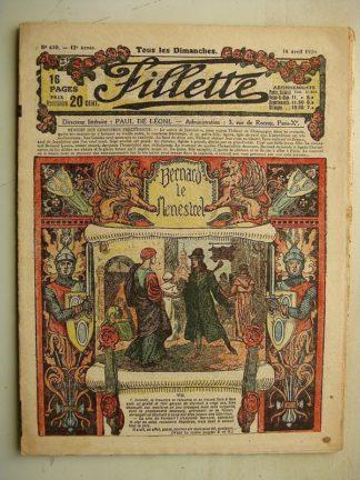 FILLETTE (SPE) N°630 (18 avril 1920) Bernard le ménestrel (Janko) Pépita, la petite saltinbanque (Jo Valle)