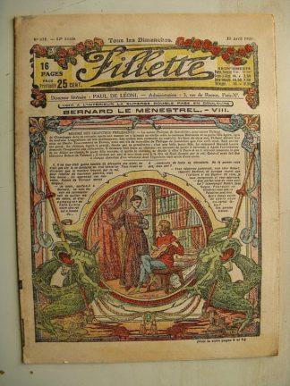 FILLETTE (SPE) N°631 (25 avril 1920) Bernard le ménestrel (Janko) Mirette et Zanetto (Alphonse Crozière) Louis Forton