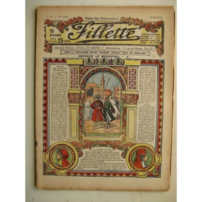 FILLETTE (SPE) N°633 (9 mai 1920) Bernard le ménestrel (Janko) Un chien de race - L'épouvantail (Louis Forton)