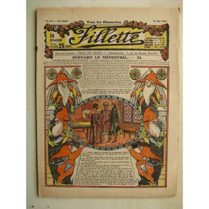 FILLETTE (SPE) N°634 (16 mai 1920) Bernard le ménestrel (Janko) La filleule des farfadets (Jo Valle)