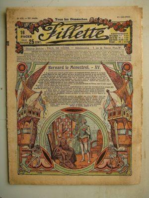 FILLETTE (SPE) N°638 (13 juin 1920) Bernard le ménestrel (Janko) Les rats et les cartouches (Paul Augros)