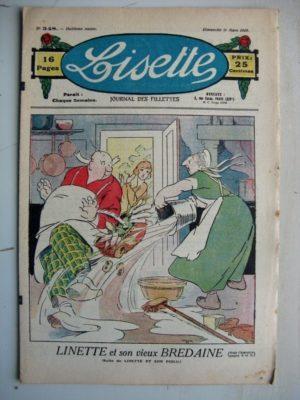 LISETTE n°348 (11 mars 1928) Linette et son vieux bredaine (Louis Maîtrejean) Blanchette doute de rien (Maurice Radiguet)