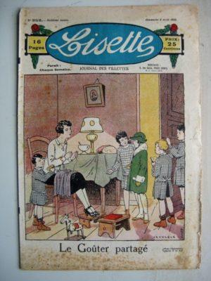 LISETTE n°352 (8 avril 1928) Linette et son vieux bredaine (Louis Maîtrejean) Le goûter partagé (Levesque)